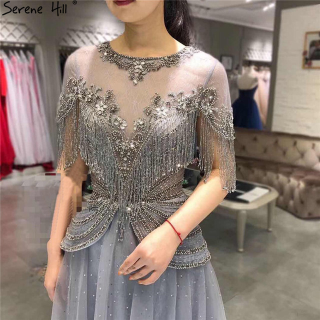 Dubai Grey O Neck Tassel Beading Evening Dresses 2020 Short Sleeves Luxury Sexy A Line Formal Dress Serene Hill LA70448