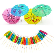 50Pcs Mixed Color Mini Umbrellas Parasol Snack Cocktail Party Pick Decoration Bar Decor Wooden Handle Small