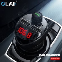 Olaf Bluetooth Car Charger with FM Transmitter 3.4A Fast Dual USB Charger Audio MP3 Player TF Card Car Kit Car Phone Charger