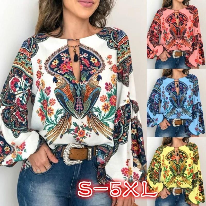 Lantern Blouse T Shirt V-Neck S-5XL Oversize Long Floral Boho Women Sleeve Tops
