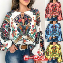 Lantern Blouse T Shirt V-Neck S-5XL Oversize Long Floral Boho Women Sleeve Tops(China)