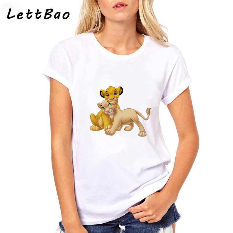 2019 <font><b>The</b></font> <font><b>Lion</b></font> <font><b>King</b></font> Cartoon Print Short Sleeve <font><b>T</b></font> <font><b>Shirt</b></font> <font><b>Women</b></font> Two Little <font><b>Lions</b></font> Vogue Casual Print O-Neck <font><b>T</b></font> <font><b>Shirt</b></font> Hakuna Matata Tee image