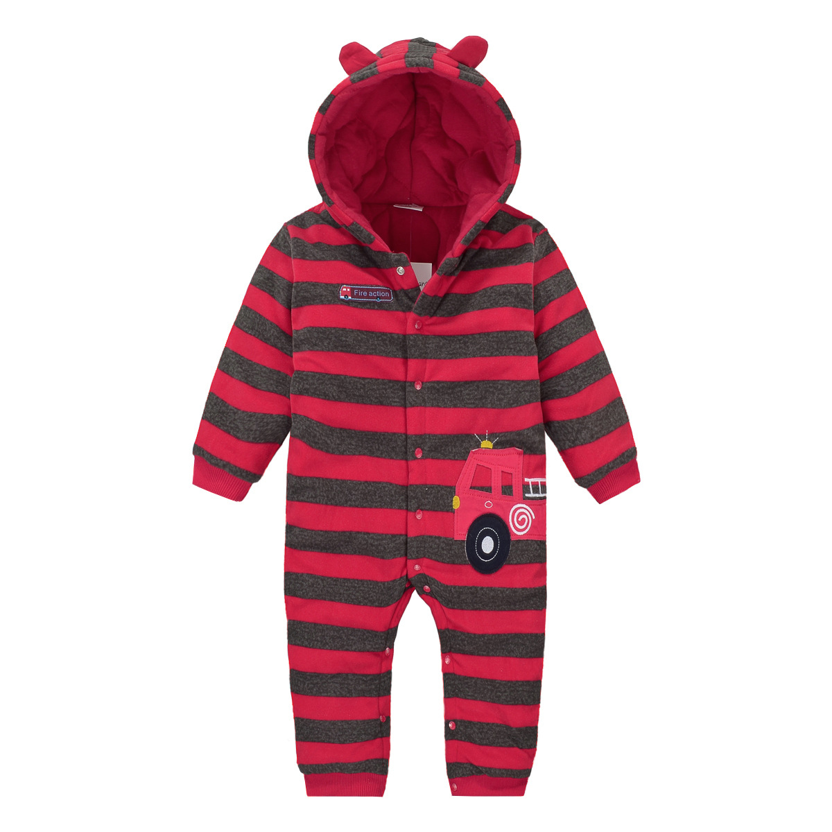 Cross Border Supply Of Goods European And American Style Brand Plus Cotton Romper Red Stripes Cartoon Car Baby Onesie Winter Thi