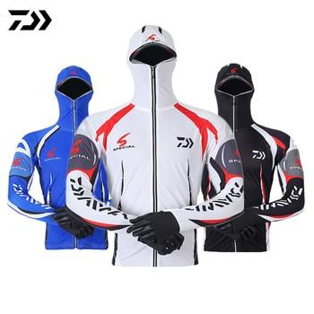 Daiwa Clothes Fishing Shirt Jacket Ice Silk Quick Dry Sports Clothing Sun Protection Face Neck Anti-uv Breathable Fishing Hooded