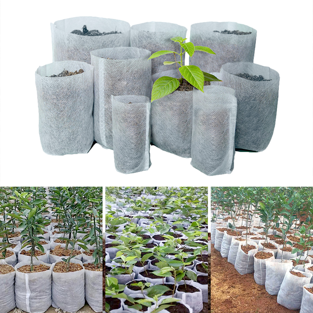 100Pcs Different Sizes Biodegradable Non-woven Seedling Nursery Bag Plant Grow Bags Fabric Pouch Planting Ventilate for Garden