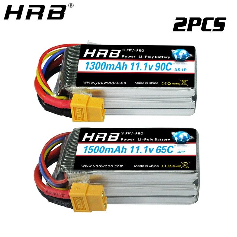 2PCS HRB Lipo Battery 3S 11.1V 1300mah 4S 14.8V 1500mah 1800mah 2S 7.4V 2200mah 50C XT60 2600mah RC Airplane FPV Drone Car Parts