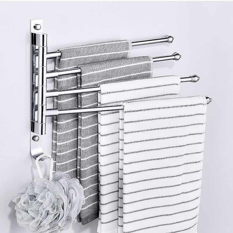 Hole-Punched Rotating Towel Rack Stainless Steel Activity Towel Bar Double Poles Bathroom Towel Rod Four Bars Kitchen