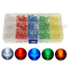 500pcs/Box 5Color x 100pcs 5MM LED Light White Yellow Red Blue Green DIY Assortment Diodes Kit