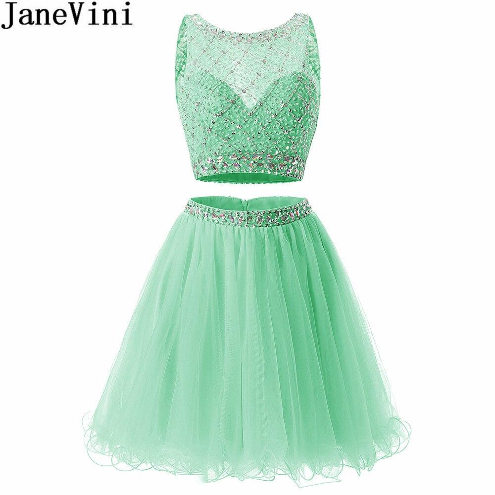 JaneVini/Роскошные платья для выпускного вечера из двух предметов; короткое платье мятного цвета со сверкающими кристаллами и бисером; праздни