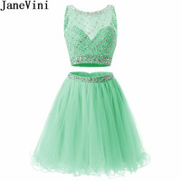 JaneVini Luxury Two Pieces Homecoming Dresses Short Mint Sparkling Crystals Beading Tulle Bleu Party Wear Gown Graduation Dress