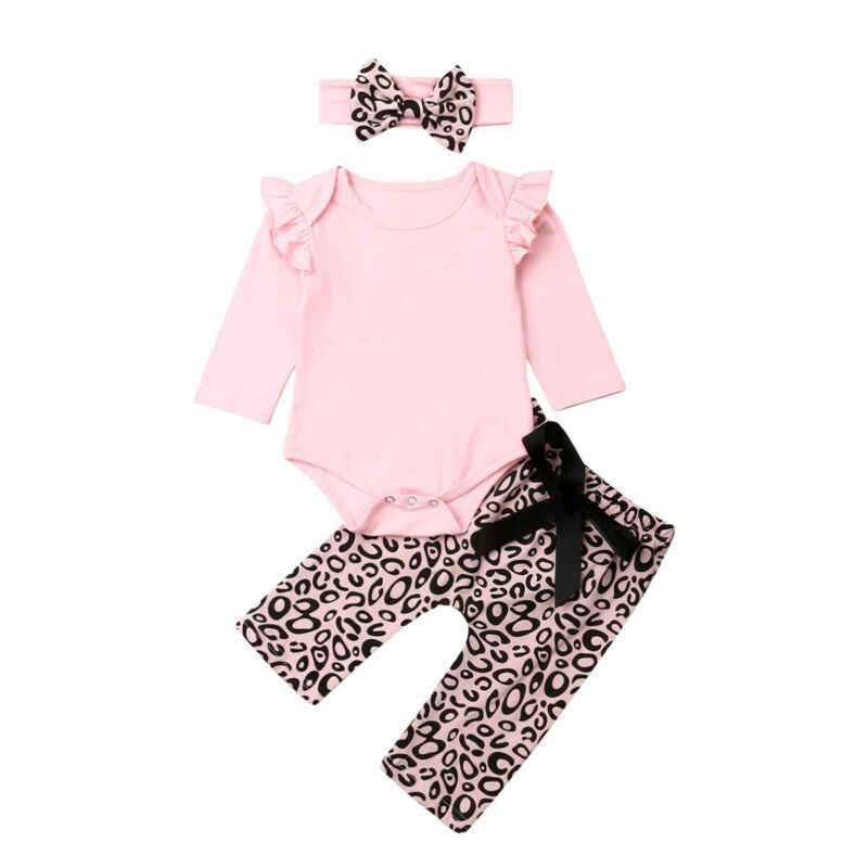 תינוק בגדים 2019 יילוד תינוק בנות בגדים ארוך שרוול חולצות + נמר מכנסיים בגימור תלבושות סט