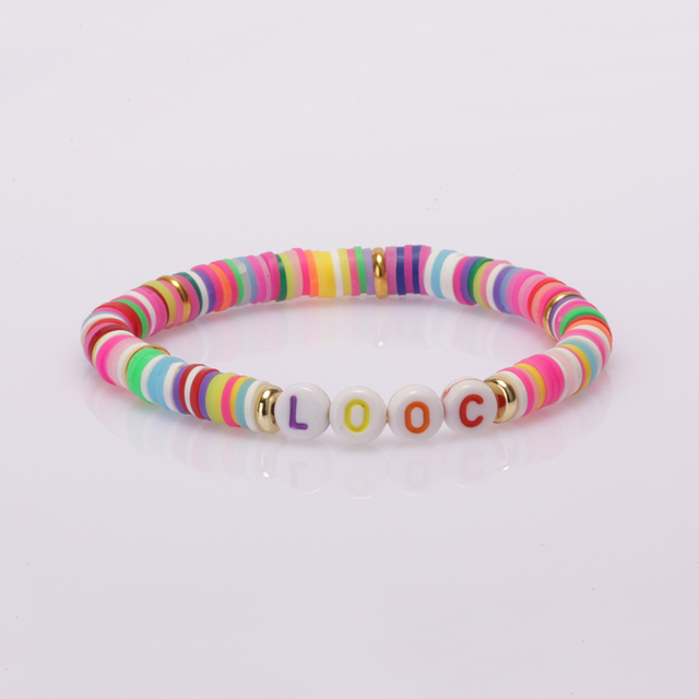 boho statement jewelry 26 initial alphabet Love letter words charm rainbow clay silicone plastic beaded bracelets for woman