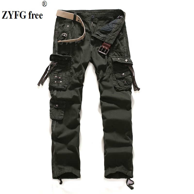 New Arrival Men Casual Cargo Pants Overalls Mens Winter Fashion Cargo Pants Solid Multi-pocket Loose Design Pants Plus Size