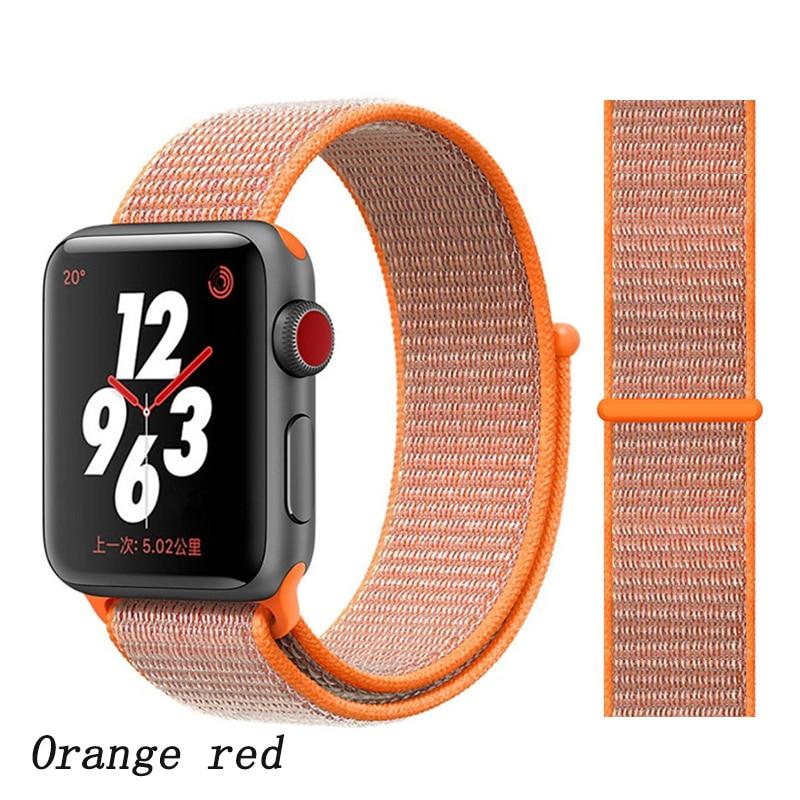 Спортивная петля ремешок apple watch band 42 мм 38 мм apple watch 4 3 band iwatch band 44 мм 40 мм correa pulseira 42 44 нейлоновый ремешок для часов - Цвет ремешка: orange red 4