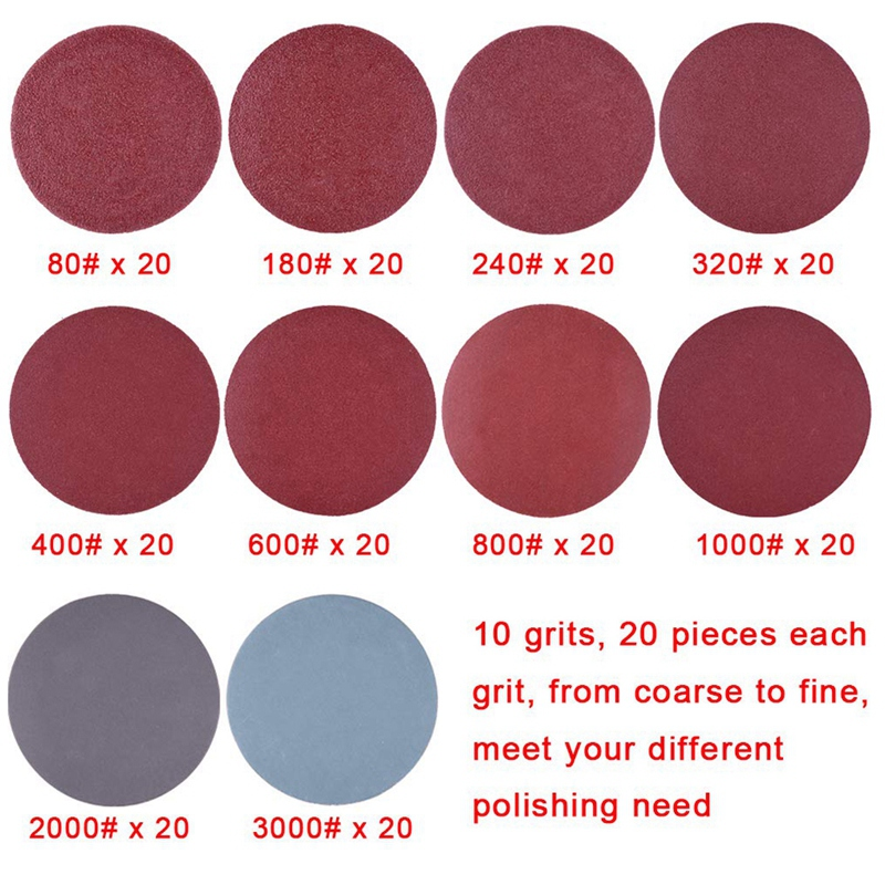 200Pcs 50mm 2 Inch Sander Disc Sanding Discs 80-3000 Grit Paper with 1Inch Abrasive Polish Pad Plate + 1/4 Inch Shank for Rotary 2