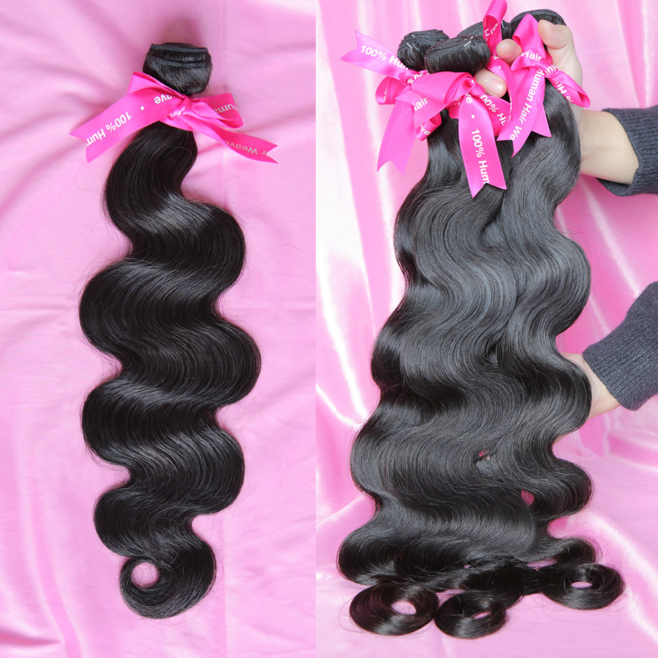 Luvin 28 30 Inch Brazilian Hair Weave 3 4 Bundles Body Wave Virgin 100% Unprocessed Human Hair Natural Super Double Drawn