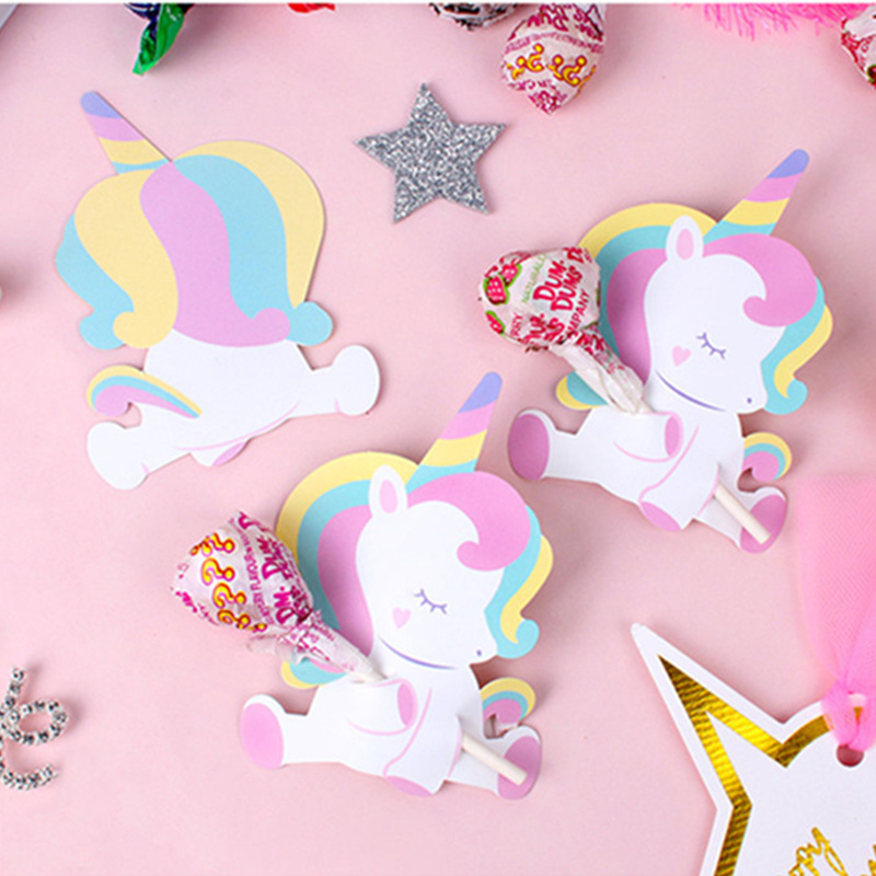 50pcs/pack Baby Unicorn Lollipop Decoration Cards Wedding Birthday Party Decorations Kids Candy Favors Decor For Guest Cartoon