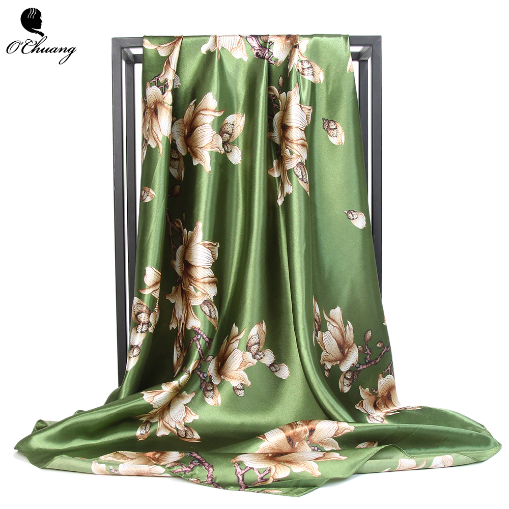 Women Scarf Green Fashion Silk Satin Hijab Kerchief Neck Print Square Foulard Female 90*90cm Shawls And Wraps Head Scarves