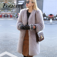 INS fashion coat Furry Fur Coat tops Women Fluffy Warm Long Sleeve Outerwear Autumn Winter Coat Jacket Hairy Collarless Overcoat