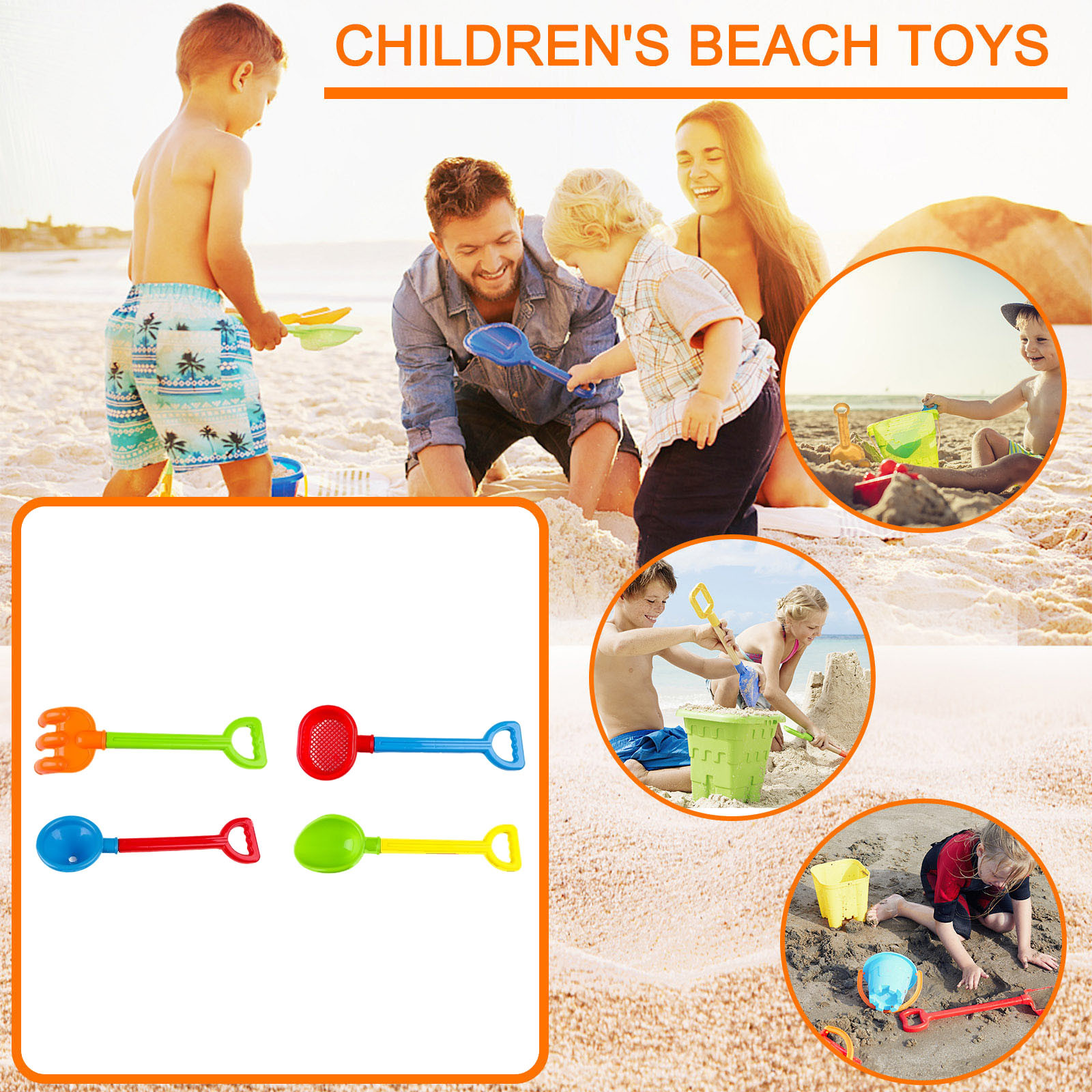 4 Piece Beach Toy Sand Set Sand Play Sandpit Toy Summer Outdoor Toy For Kids Beach Play Sand Water Game