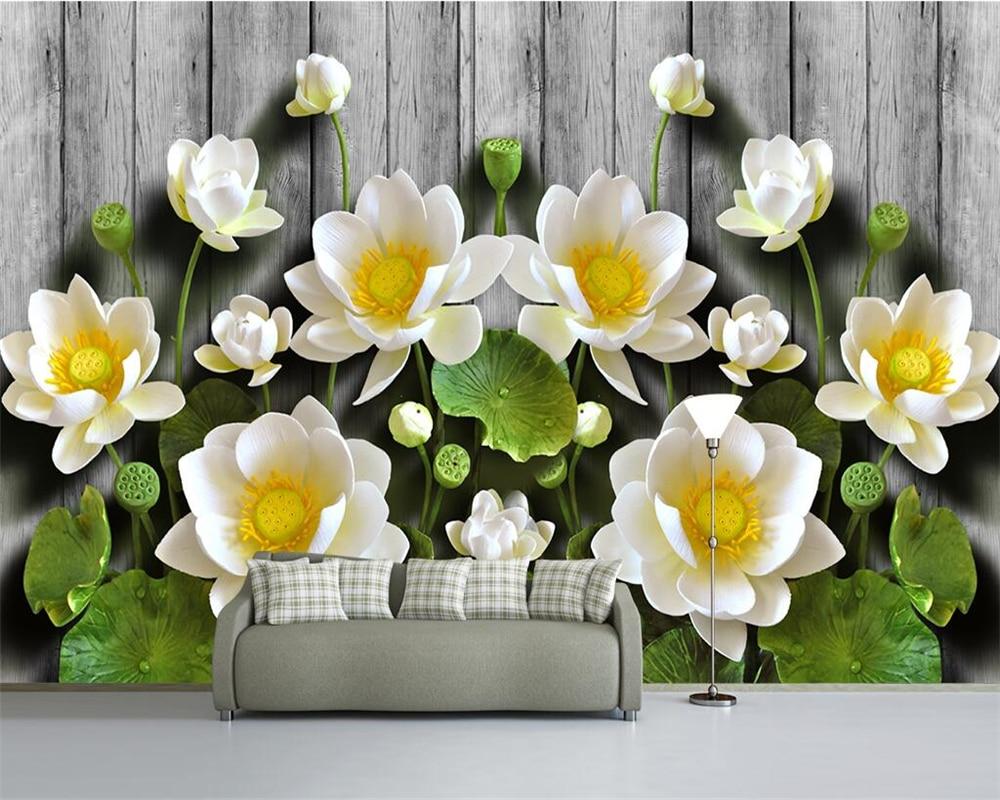 Beibehang-Custom-wallpaper-green-relief-lotus-wood-grain-3d-tv-sofa-background-walls-living-room-bedroom