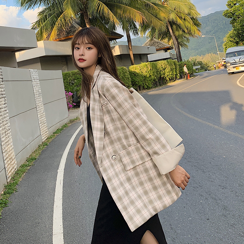 Vintage Single Breasted Plaid Women Blazer Pockets Jackets Female Retro Suits Coat Feminino blazers Outerwear high quality