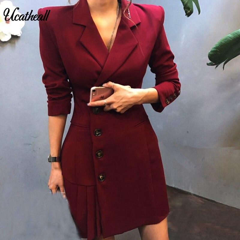 Office Lady Single Breasted Blazer Hem Side Pleated Coat Women Elegant Blazer