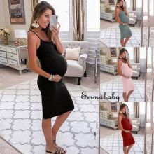 Summer Fashion Casual Womens Pregnancy Maternity Bodycon Brief Solid V Neck Sling Midi Dress Sleeveless Party Casual