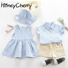 Baby Girl's Dress Hat Suit Children's Striped Siblings Costume Baby Boy Striped Shirt Pants Two-Piec