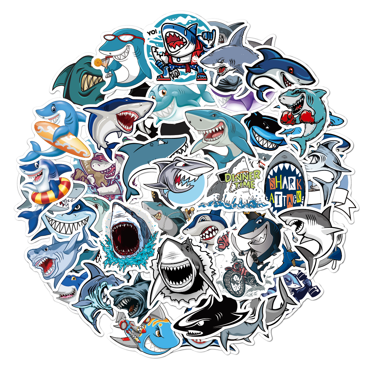 50pcs/Pack Kids Cute Animal Shark Funny Stickers Waterproof Skateboard Suitcase Phone Luggage Laptop Stickers Classic Toys