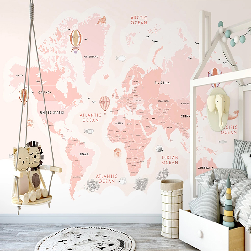 Custom 3D Photo Wallpaper For Kids Room Pink Hot Air Balloon Sea World Map Children Room Bedroom Decoration Wall Mural Paintings