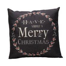 Funda de cojín Vintage con letras de Navidad sofá cama decoración para el hogar
