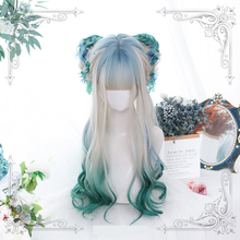 Curly-Wig Lolita-Long Bang Synthetic-Hair Wavy-Style Cosplay Ombre Women with 50-60cm