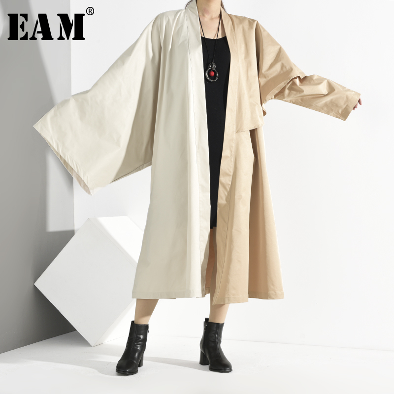 [EAM] Women Contrast Color Oversized Long Trench New Lapel Long Sleeve Loose Fit Windbreaker Fashion Spring Autumn 2020 JQ93804