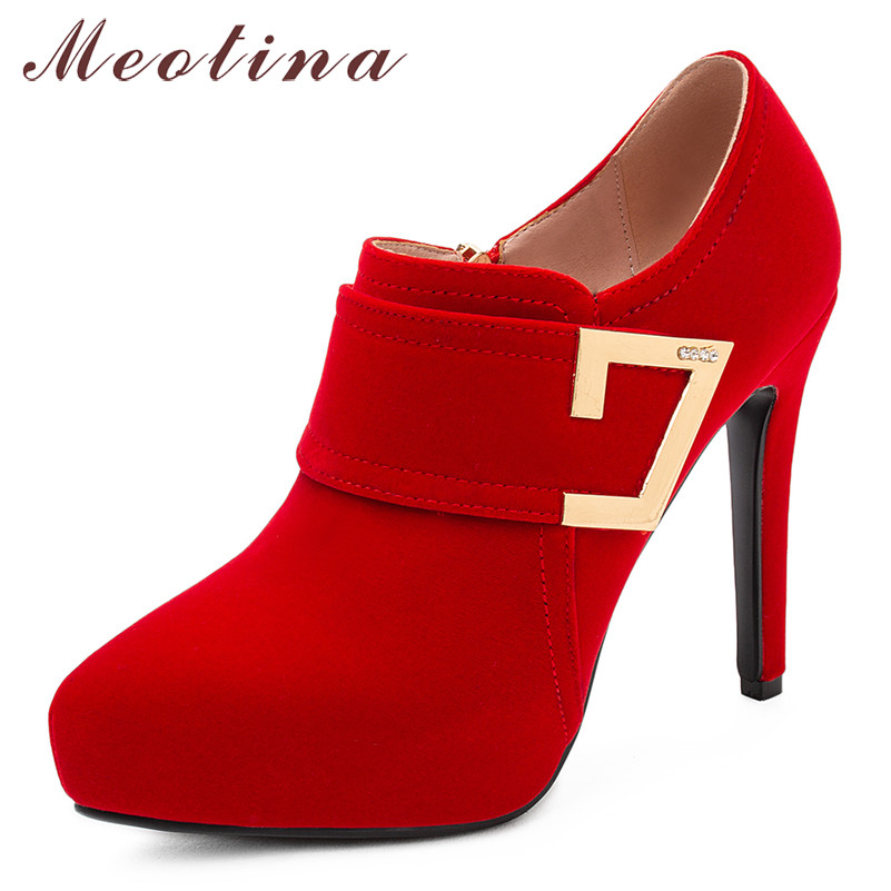 Meotina High Heels Women Pumps Zipper Platform Thin High Heels Party Shoes Buckle Pointed Toe Shoes Lady Spring Red Plus Szie 43