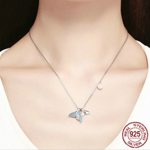 925 sterling silver Blue CZ Mermaid Tail Pendant Necklace Mermaid tears inlaid with zircon pearl necklace  statement necklace blue mermaid scales tassel necklace
