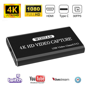 USB Video Capture Card HDMI to Type C USB 1080P Video Grabber Record HDMI 4K Loopout for PS4 TV Camera Recording Live Streaming