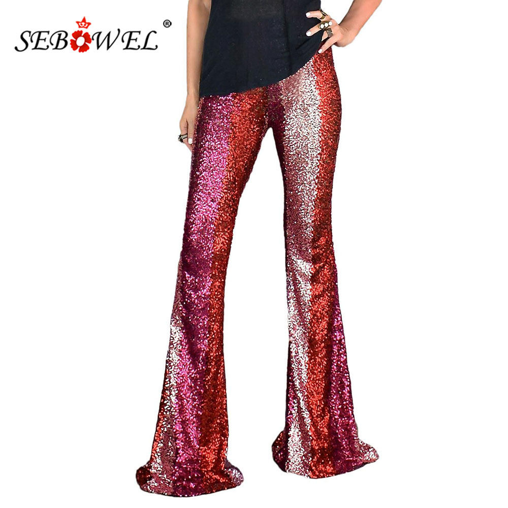 SEBOWEL Party Red Color Block Sequins Woman Elastic High Waist Wide Leg Pants Lady Dance Patchwork Glitter Trousers Female Pants
