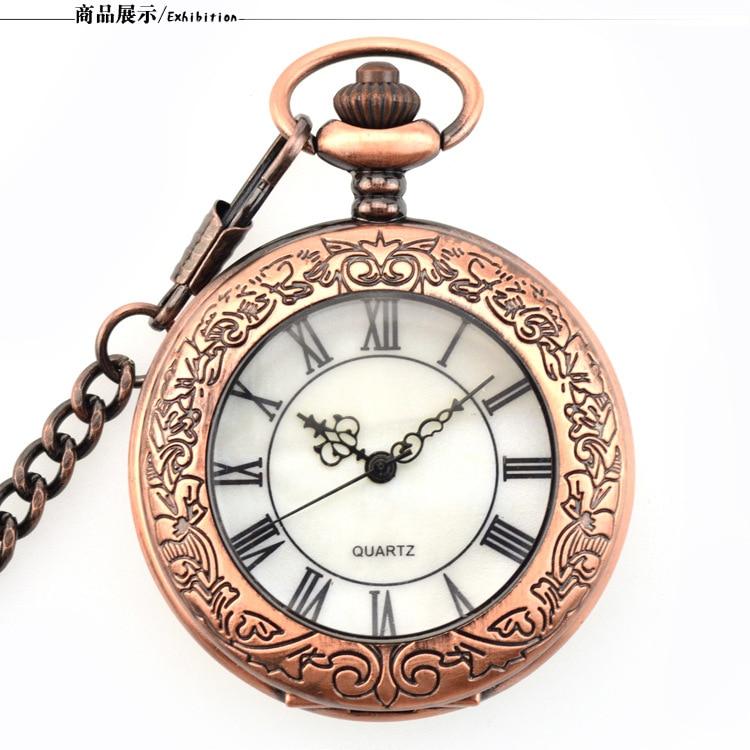 Vintage Rose Steampunk Pocket Watch Roman Numerals Quartz Necklace Pocket & Fob Watches Chain Men Women Clock