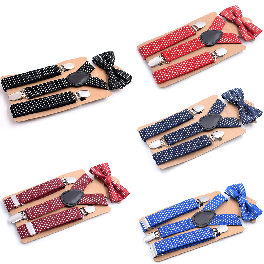 Adjustable Boys Kids Candy Color 3 Clip-on Y Back Elastic Suspenders Bowtie Set Buckle Belt Strap Suspender Clip Bow Tie Set#730