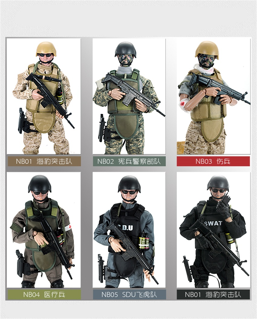 1/6 Forces Figure Model Military Army Combat Swat Police Injured Soldier ACU Action Figure Toys NB03A For Gift