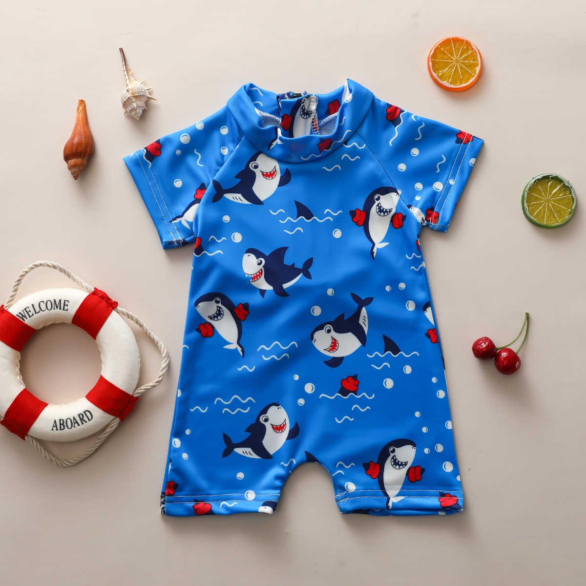 0-3Y 유아 베이비 Goys 원피스 수영복 만화 동물 프린트 반소매 지퍼 블루 Beachwears