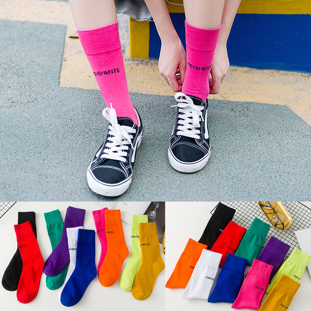 Trendy Cool Girls Fluorescent Color New Socks Harajuku Women Cotton Socks Casual Letter Skateboard Street Socks Loose Crew Socks
