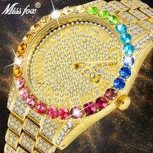 Часы missfox мужские с большим радужным бриллиантом водонепроницаемые