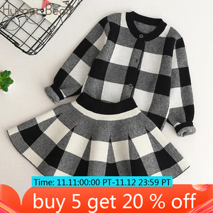 Image 1 - Humor Bear/осень 2019, новые комплекты одежды для девочек, повседневные клетчатые куртки с длинными рукавами + юбки, комплекты из 2 предметов для детей