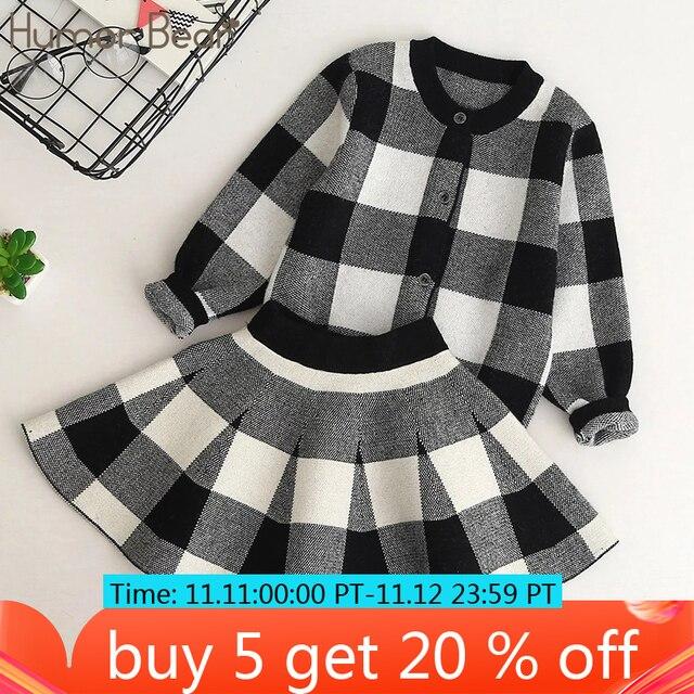 Humor Bear/осень 2019, новые комплекты одежды для девочек, повседневные клетчатые куртки с длинными рукавами + юбки, комплекты из 2 предметов для детей