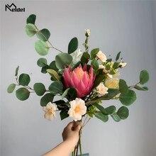 Meldel Bruidsboeket Bruid Boeketten Kunstmatige Zuid Afrikaanse Monarch Bloem Rose Sims Azalea Eucalyptus Bladeren Bruiloft Boeket