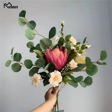 Meldel חתונה זר הכלה זרי מלאכותי דרום אפריקאי Monarch פרח עלה Sims אזליה אקליפטוס עלים חתונה זר