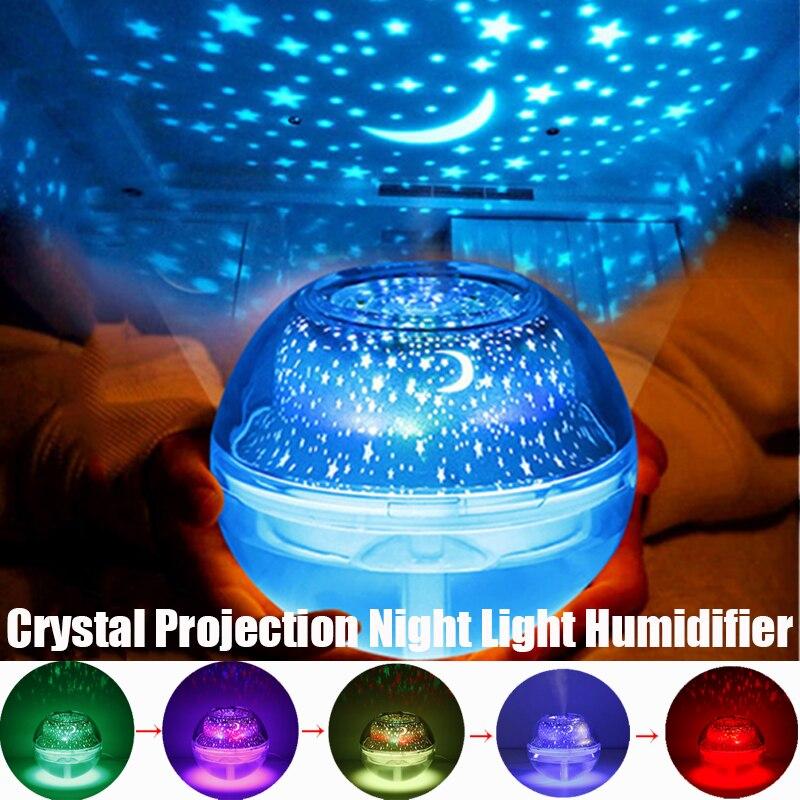 USB 500ml Crystal Night Light Projection Air Humidifier Desktop Aroma Diffuser Ultrasonic Mist Maker Night Lights for Bedroom