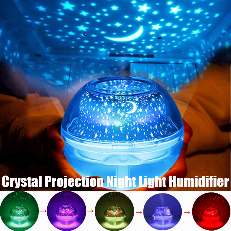 USB 500ml Crystal Night Light Projection Air Humidifier Desktop Aroma Diffuser Ultrasonic Mist Maker Night Lights for Bedroom